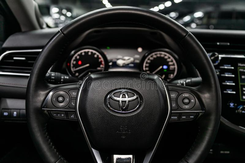 Novosibirsk, Russia September 07, 2019: Toyota Camry. Novosibirsk, Russia – September 07, 2019:  Toyota Camry,Black luxury car Interior - dashboard stock photo