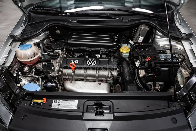 Novosibirsk Ryssland - Januari 30, 2019: Volkswagen Polo royaltyfria foton