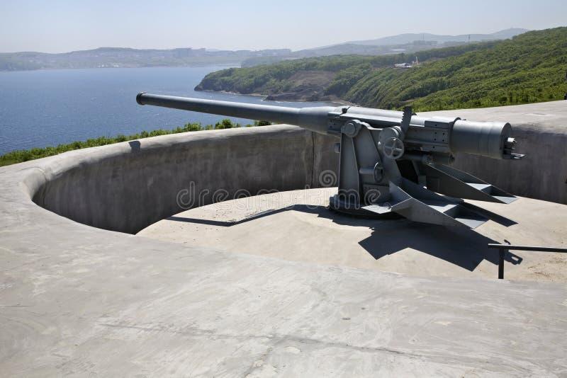 Novosiltsevskaya coast battery in Vladivostok fortress. Russian island. Russia.  royalty free stock photography