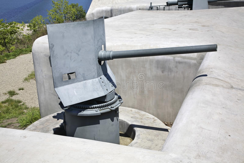 Novosiltsevskaya coast battery in Vladivostok fortress. Russian island. Russia.  stock image