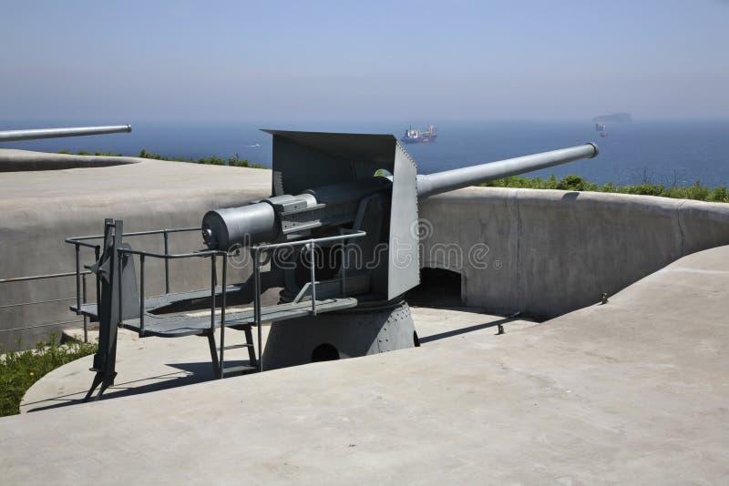 Novosiltsevskaya coast battery in Vladivostok fortress. Russian island. Russia.  stock photo