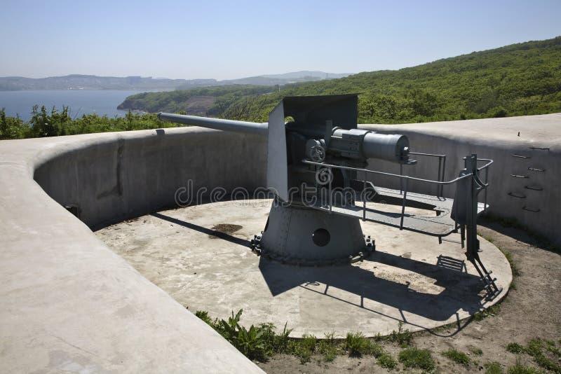 Novosiltsevskaya coast battery in Vladivostok fortress. Russian island. Russia.  royalty free stock image