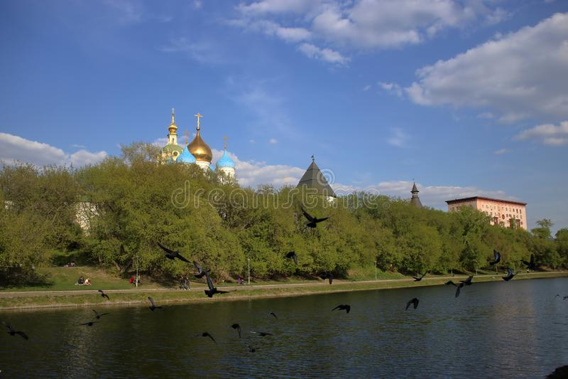 Novospassky修道院的塔和圆顶 库存照片