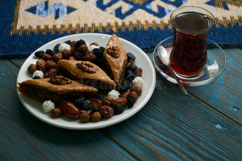 Novruz tray plate with Azerbaijan national pastry pakhlava stock photography