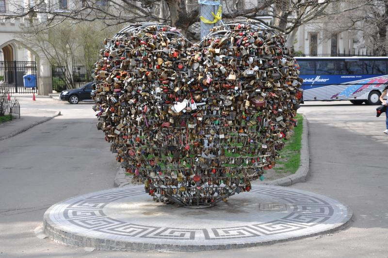 In Odessa, a new monument `Loving Heart` was opened. royalty free stock photography