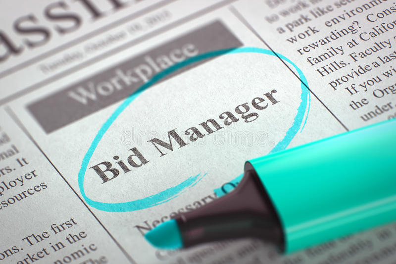 Now Hiring Bid Manager. 3D. Newspaper with Advertisements and Classifieds Ads for Vacancy Bid Manager. Blurred Image. Selective focus. Job Seeking Concept. 3D royalty free stock photos