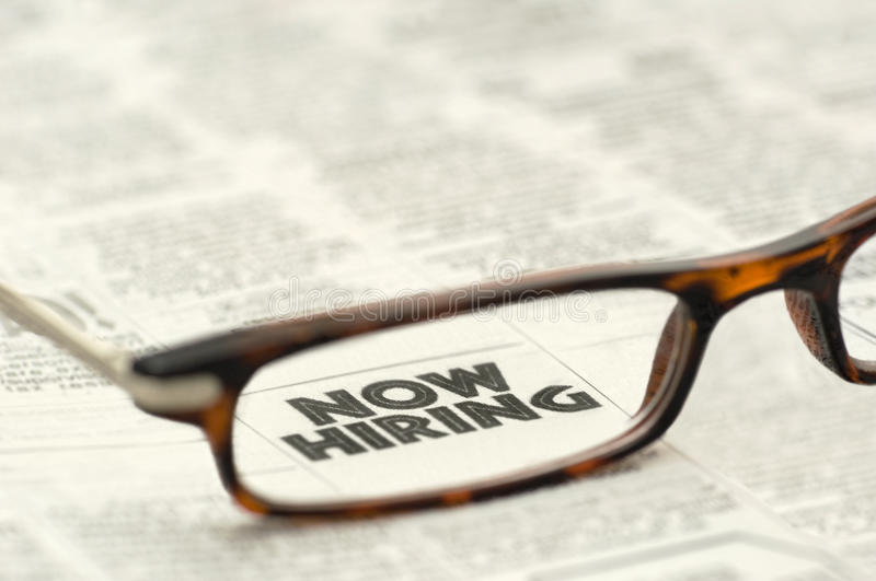 Download Now Hiring Classified Ad Framed In Glasses Stock Image - Image: 12390333