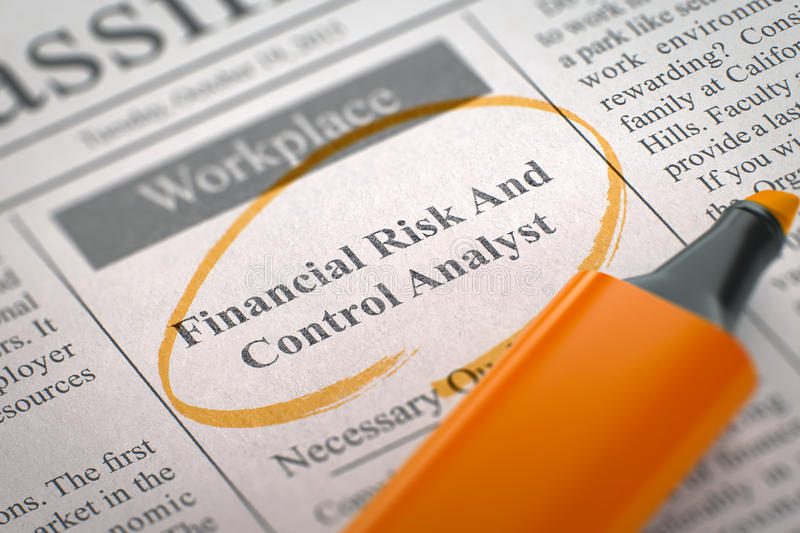 Now Hiring Financial Risk And Control Analyst. 3D. Financial Risk And Control Analyst - Job Vacancy in Newspaper, Circled with a Orange Marker. Blurred Image stock image