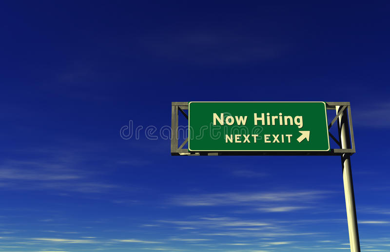 Now Hiring - Freeway Exit Sign stock image