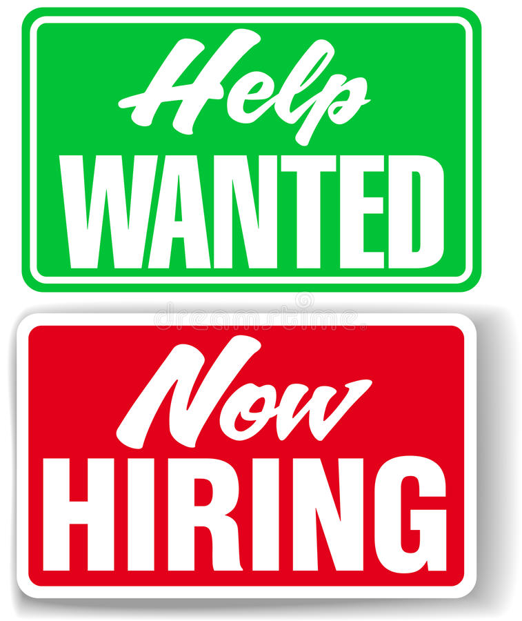 Now Hiring Help Wanted business signs stock illustration