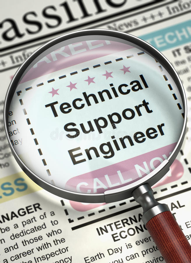 Now Hiring Technical Support Engineer. 3D. Stock Illustration ...