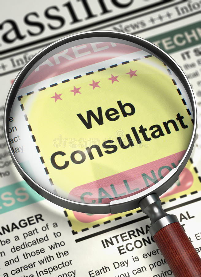 Now Hiring Web Consultant. 3D. stock image