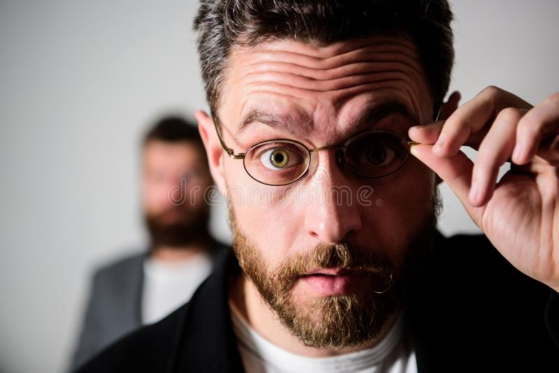 Now i see everything. Picky smart inspector. Man handsome bearded guy wear eyeglasses. Eye health and sight. Optics and. Vision concept. Smart glance. Accessory stock images