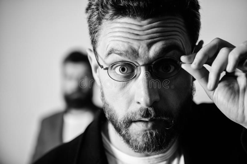 Now i see everything. Picky smart inspector. Man handsome bearded guy wear eyeglasses. Eye health and sight. Optics and. Vision concept. Smart glance. Accessory stock photos