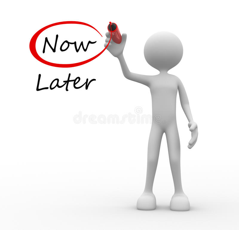Now and Later opposition royalty free illustration