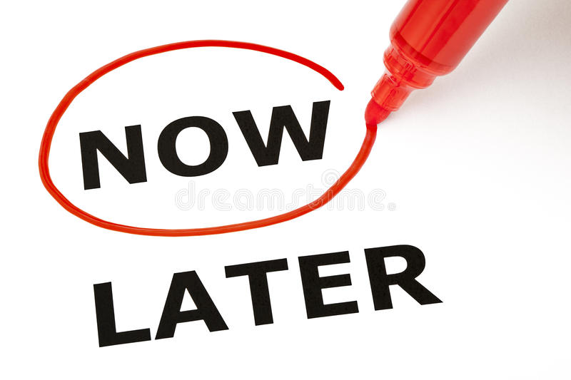 Download Now Or Later With Red Marker Stock Image - Image of action, achievement: 28322075