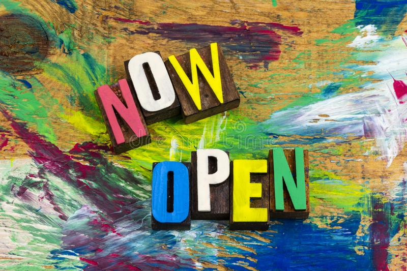 Now open for business retail sales royalty free illustration