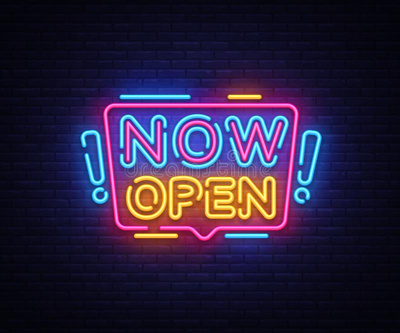 Now Open neon signs vector. Now Open Design template neon sign, light banner, neon signboard, nightly bright advertising vector illustration