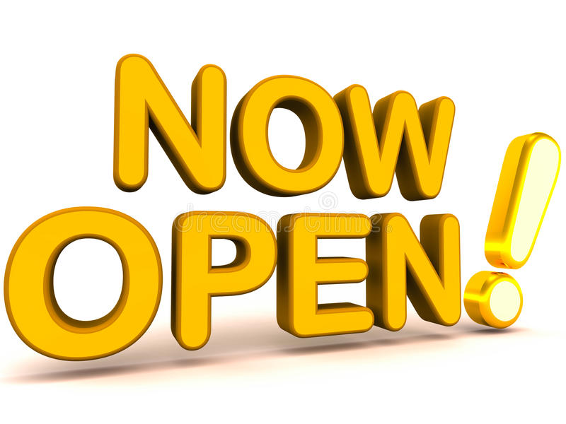Now open to business. 3d words with brushed gold exclamation mark saying now open