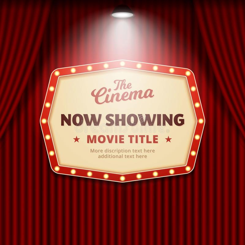 Now showing movie in cinema poster design. retro theater sign with spotlight and red curtain background vector illustration vector illustration