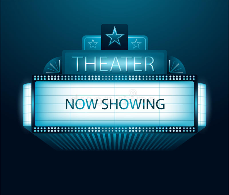 Now showing movie theater banner stock illustration