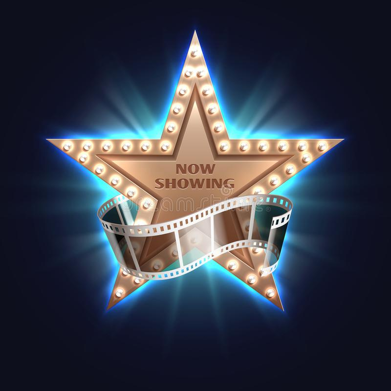 Now showing movie vector background with hollywood film star stock illustration