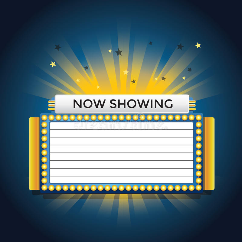 Now showing retro cinema neon sign. EPS10 royalty free illustration