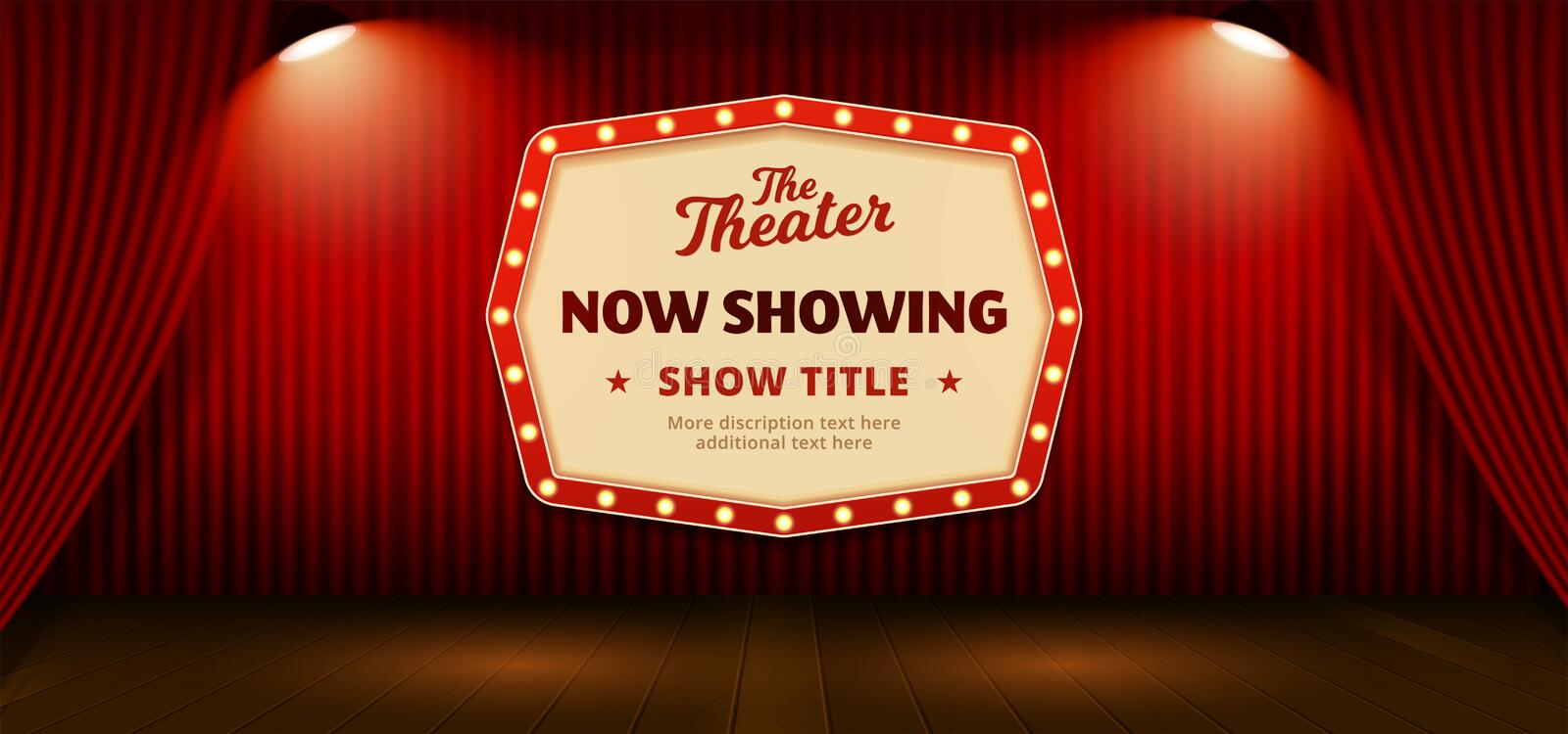 Now Showing retro classic sign board background design. red theater stage curtain backdrop with wooden floor base and double. Bright spotlight lamp vector vector illustration