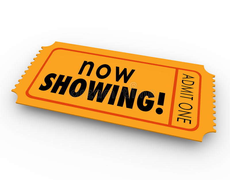 Now Showing Words Movie Ticket Pass Watch Video Online Webinar E royalty free illustration