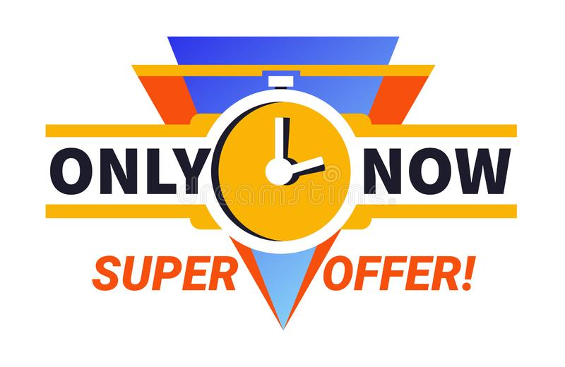 Only now super offer limited time sale promotional ad banner with clocks stock illustration