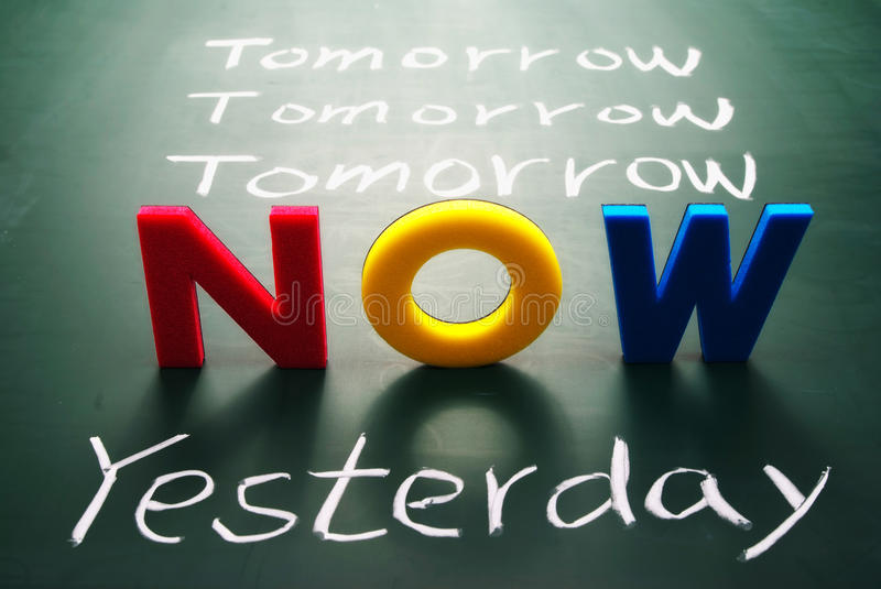 Now, yesterday, and tomorrow words on blackboard. Time concept royalty free stock photos