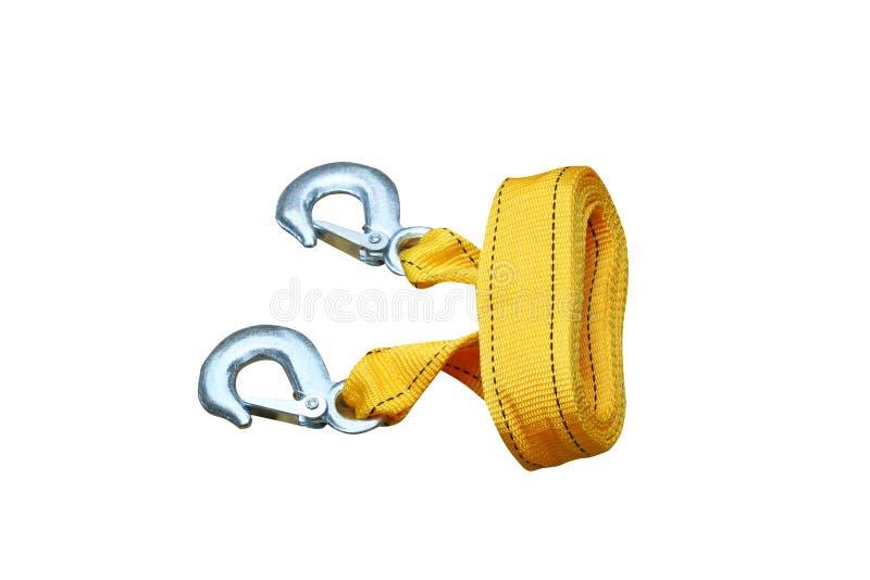 Nowa żółta arkana z haczykiem dla włóczydło samochodu odizolowywającego na białym tle fotografia stock