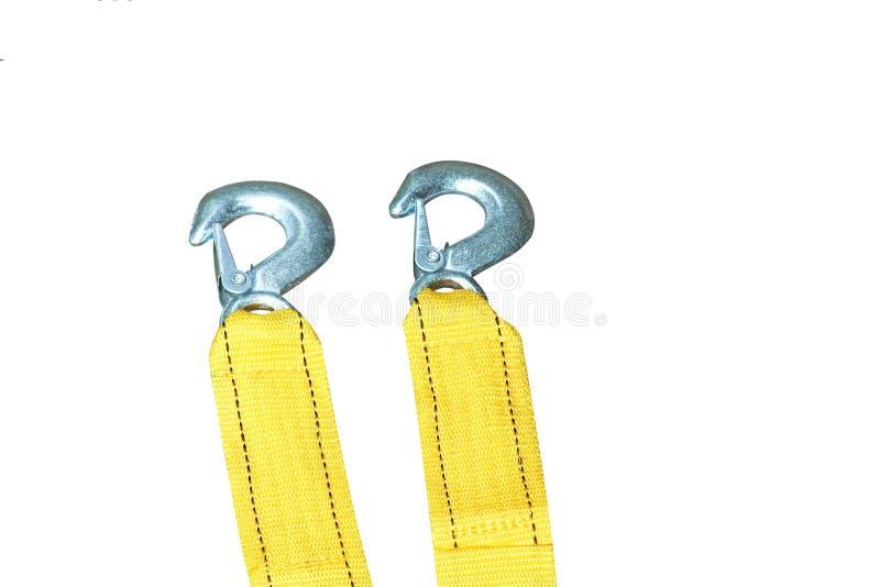 Nowa żółta arkana z haczykiem dla włóczydło samochodu odizolowywającego na białym tle fotografia royalty free