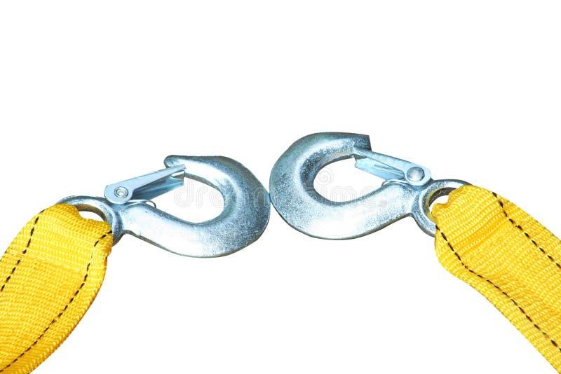 Nowa żółta arkana z haczykiem dla włóczydło samochodu odizolowywającego na białym tle zdjęcia royalty free