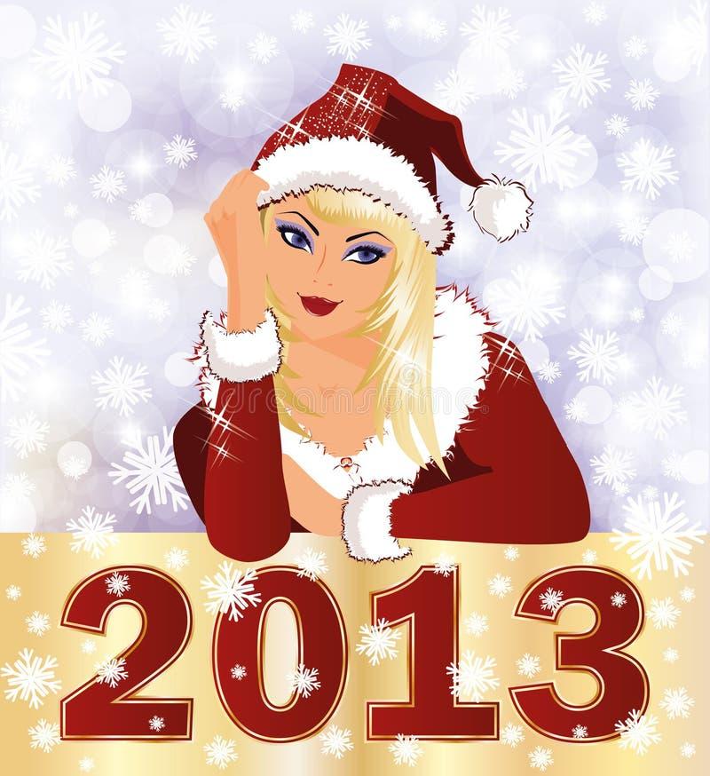 Nowa 2013 Rok karta z Santa dziewczyną ilustracji