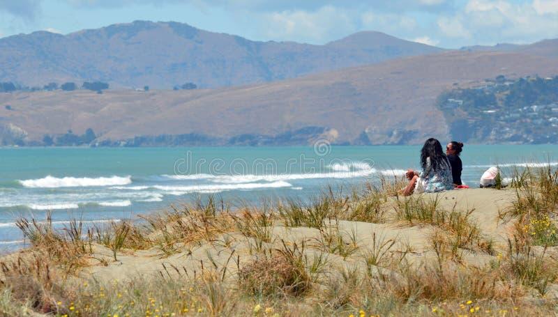 Nowa Brytyjczyk plaża Christchurch, Nowa Zelandia - obraz royalty free