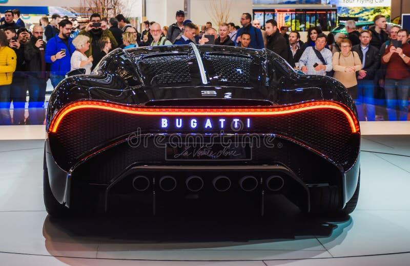 Nowa Bugatti Veyron tylna strona Powystawowy centrum w Genewa w 2019 obrazy stock