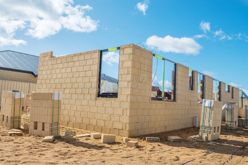 Nowa cegła domu budowa zdjęcie stock