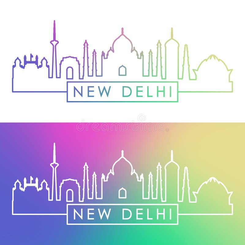 Nowa Delhi linia horyzontu Kolorowy liniowy styl royalty ilustracja