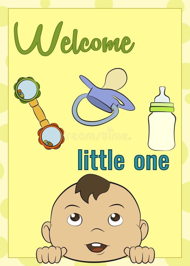 Nowa dziecko kartka z pozdrowieniami, wektorowy wizerunek, żółty tło obraz stock