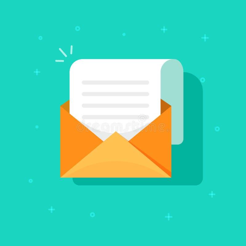 Nowa e-mail ikona, płaska karton koperta z otwartą poczta korespondencją, emaila listowy clipart ilustracja wektor