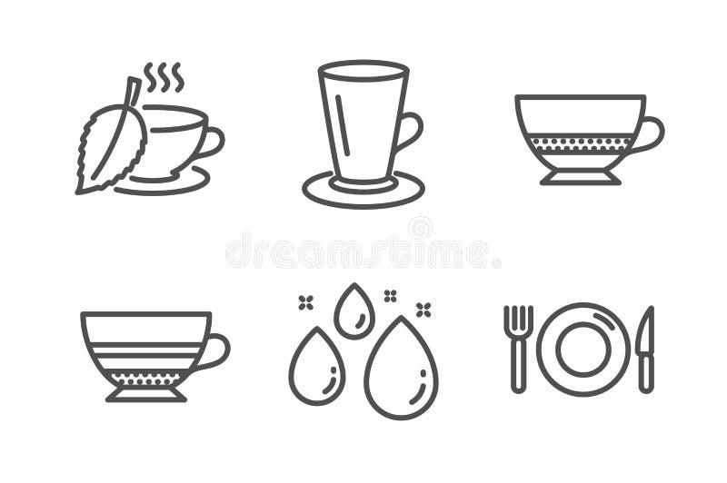 Nowa herbata, wody kropla i mokka ikony ustawiać, Bombon kawa, znaki, Teacup i jedzenia Mentha napój, Aqua wektor ilustracja wektor
