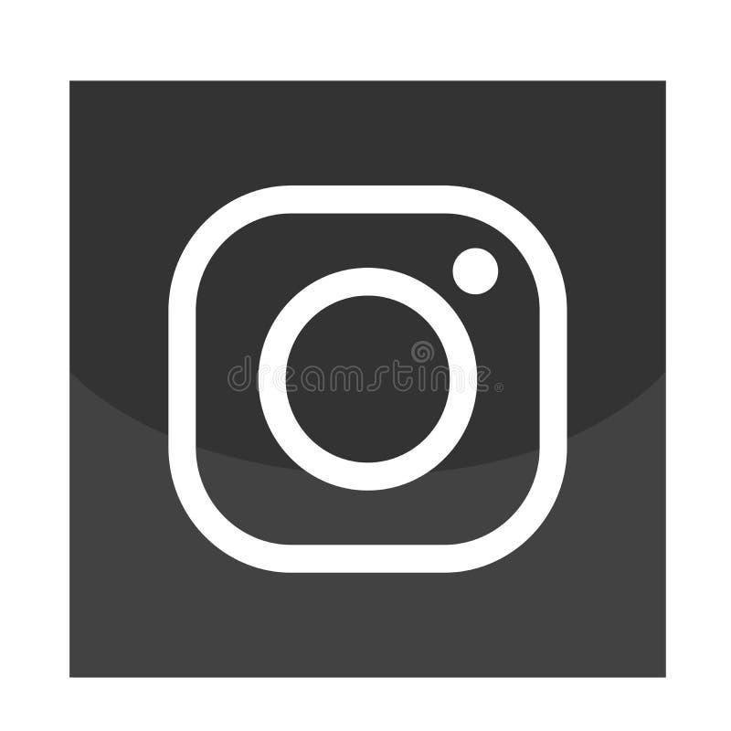 Nowa Instagram kamery logo ikona w czarnym wektorze z nowo?ytnymi gradientowymi projekt ilustracjami na bia?ym tle ilustracja wektor