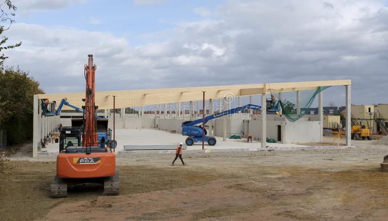 Nowa Lidl supermarketa budowa zdjęcie royalty free