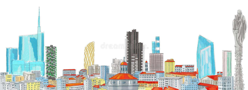 Nowa linia horyzontu Mediolan, freehand rysunek ilustracji