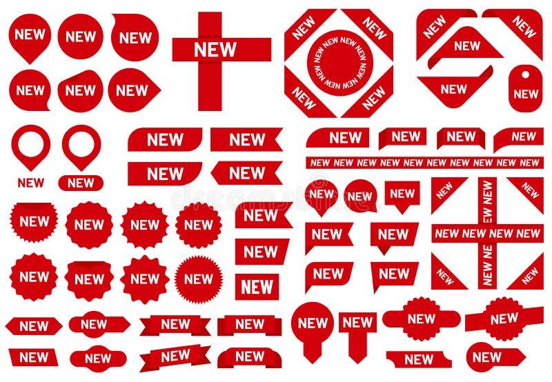 Nowa majcher odznaka Nowej przyjazdowej sprzedaży tasiemkowi majchery, czerwone odznaki i nowa flaga, podpisują wektoru set ilustracji