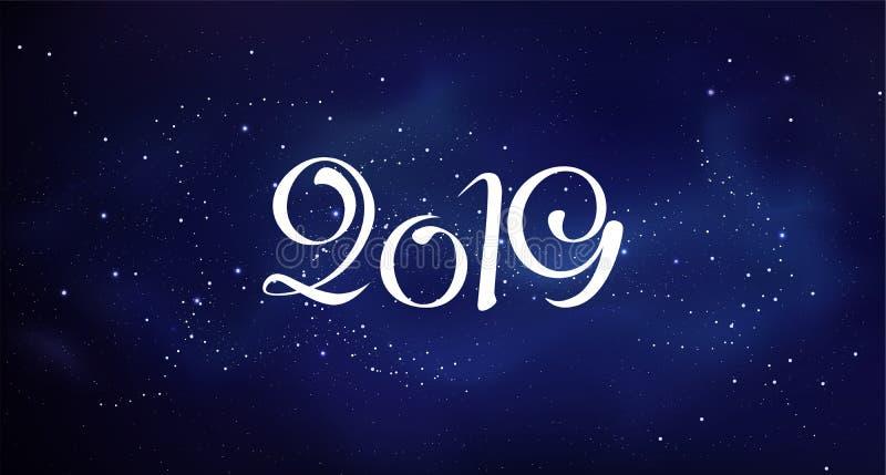 Nowa 2019 rok kartka z pozdrowieniami szablonu kolorowy wektor obrazy royalty free