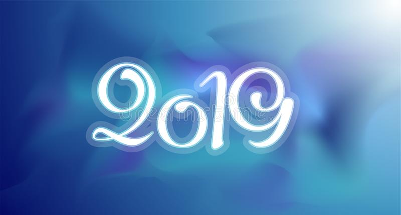 Nowa 2019 rok kartka z pozdrowieniami Wektorowy kolorowy szablonu tło obraz royalty free
