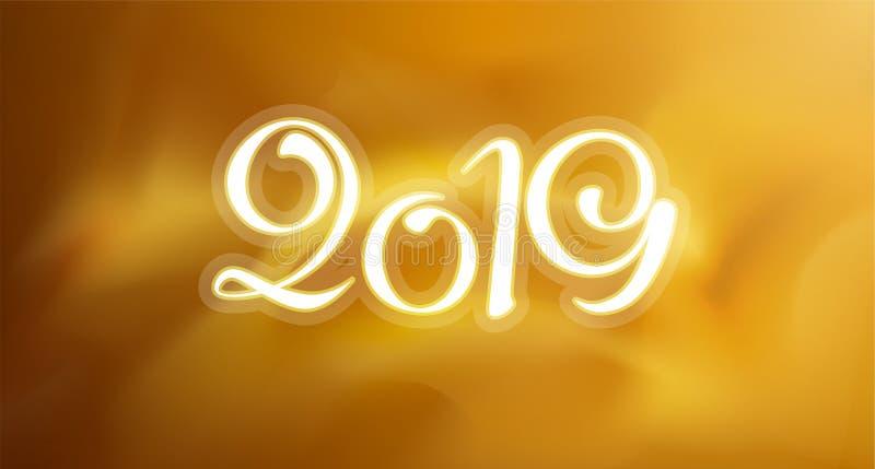 Nowa 2019 rok kartka z pozdrowieniami Wektorowy kolorowy szablonu tło fotografia royalty free