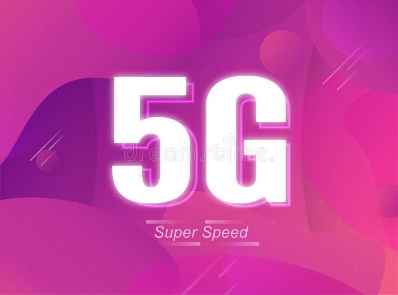 Nowa szybkość Internetu 5G dla połączeń bezprzewodowych i Wi-Fi. To szybkie połączenie świata. Projektowanie ilustracji we royalty ilustracja